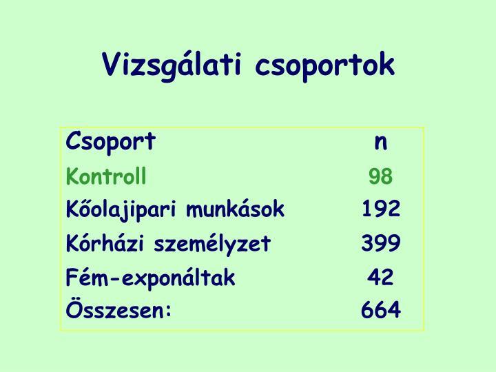 Vizsgálati csoportok