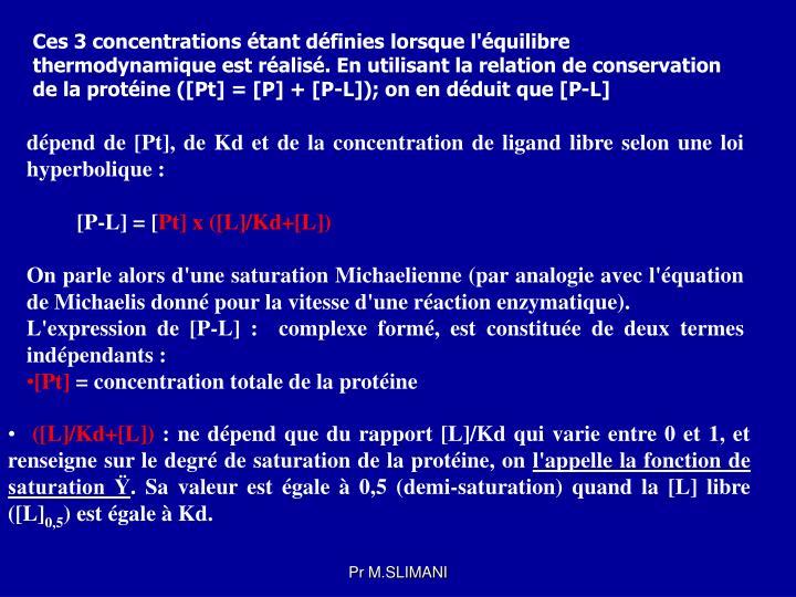 Ces 3 concentrations étant définies lorsque l'équilibre thermodynamique est réalisé. En utilisant la relation de conservation de la protéine ([Pt] = [P] + [P-L]); on en déduit que [P-L]