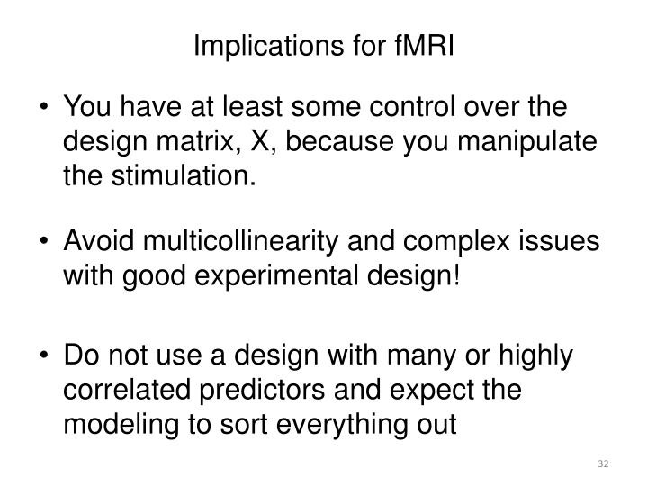 Implications for fMRI