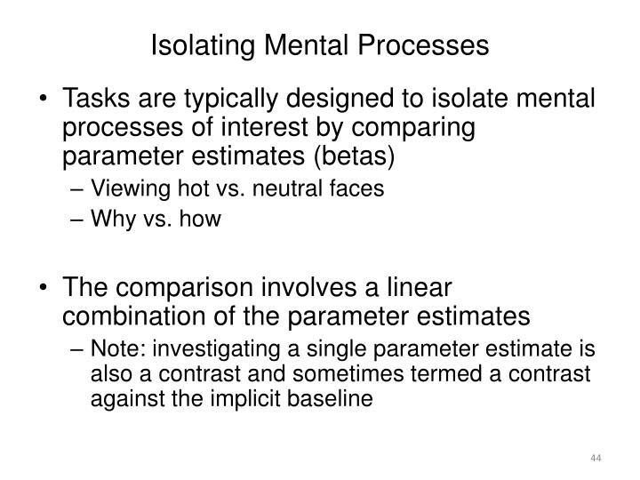 Isolating Mental Processes