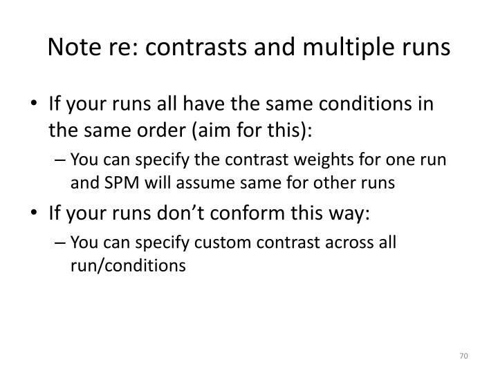 Note re: contrasts and multiple runs