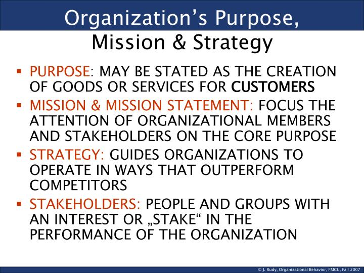 Organization's Purpose,