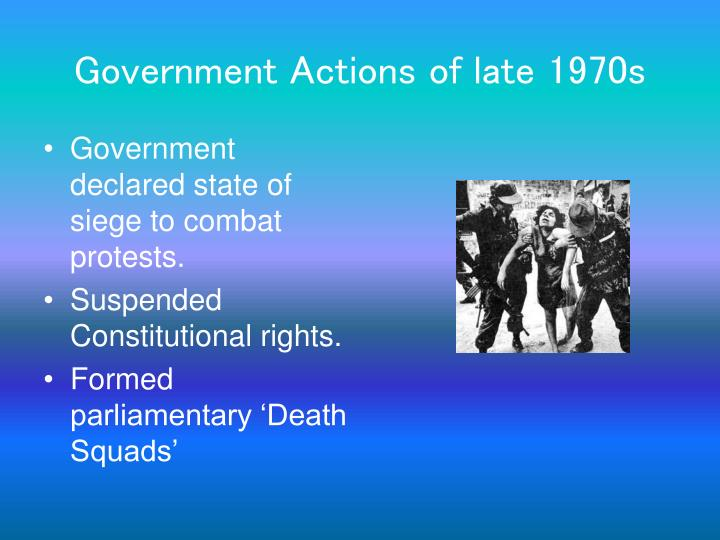 Government Actions of late 1970s