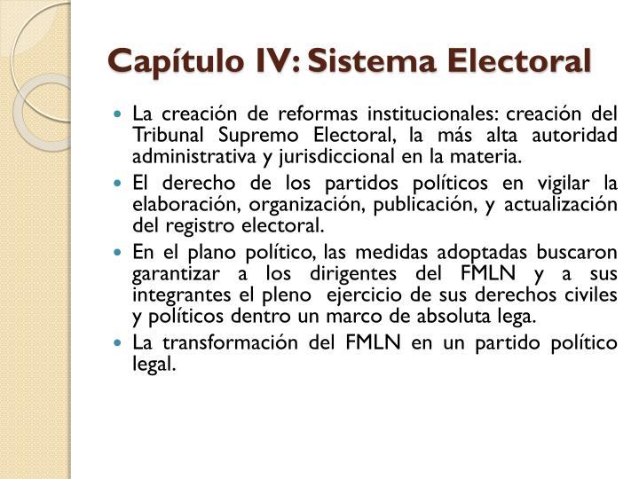 Capítulo IV: Sistema Electoral