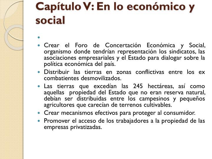Capítulo V: En lo económico y social