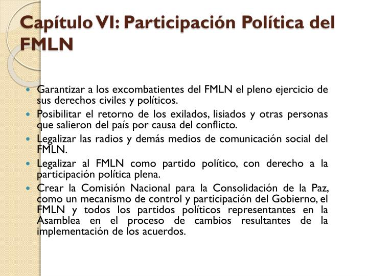 Capítulo VI: Participación Política del FMLN
