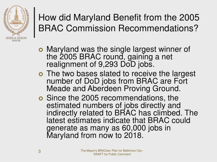 How did maryland benefit from the 2005 brac commission recommendations