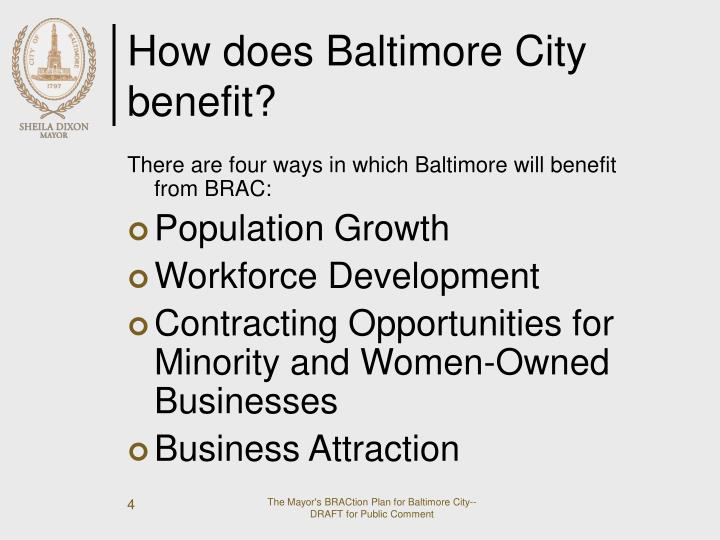 How does Baltimore City benefit?
