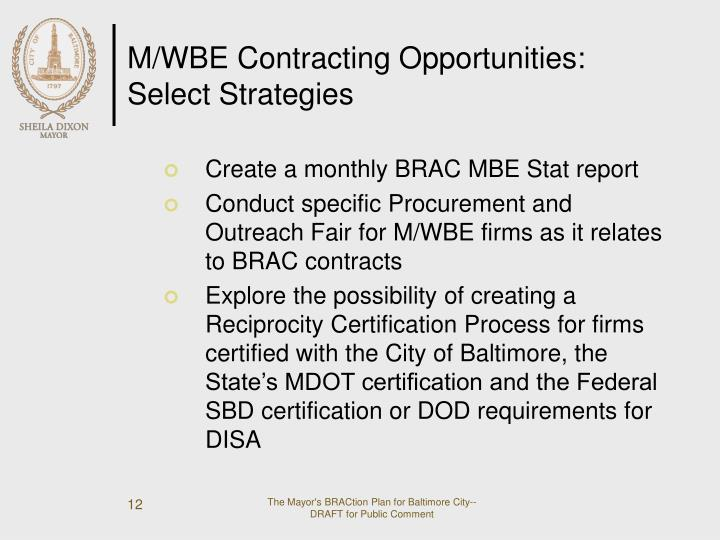 M/WBE Contracting Opportunities: Select Strategies