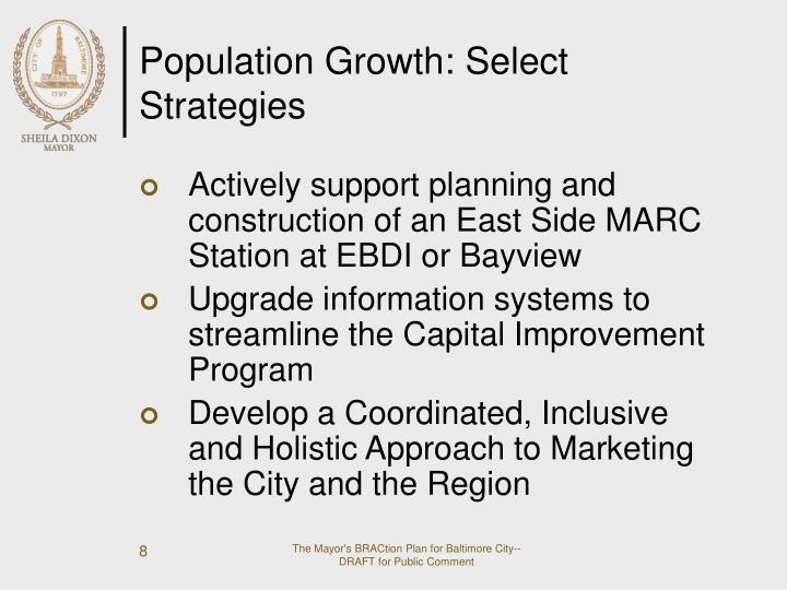 Population Growth: Select Strategies