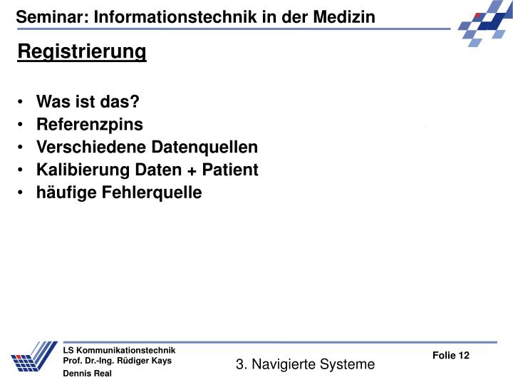3. Navigierte Systeme