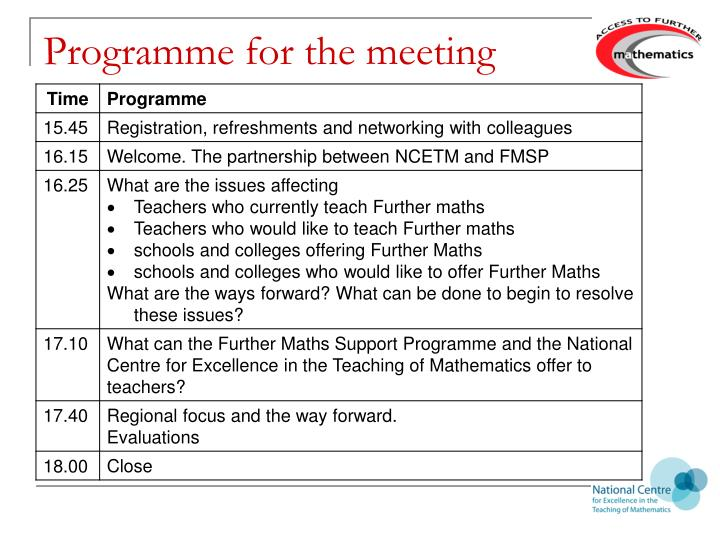 Programme for the meeting