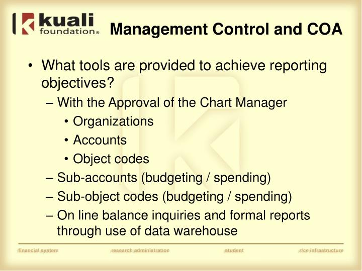 Management Control and COA