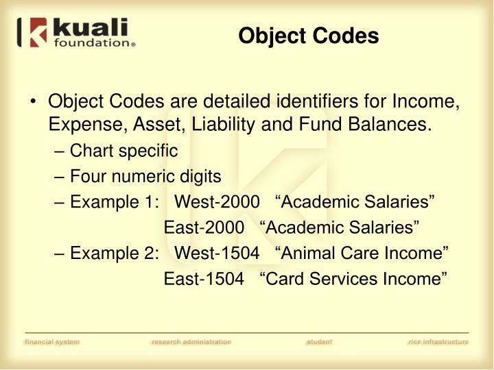 Object Codes