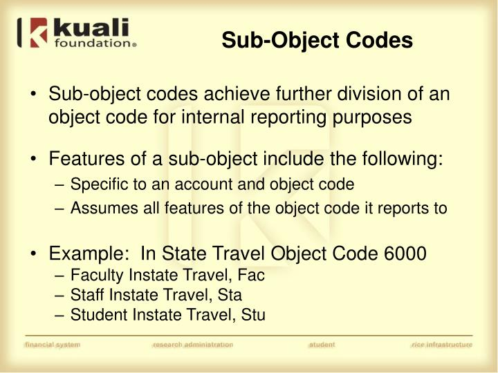 Sub-Object Codes
