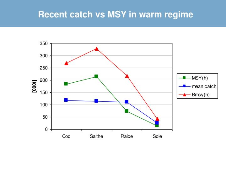 Recent catch vs MSY in warm regime