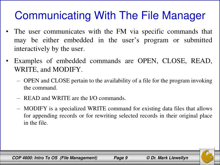 The user communicates with the FM via specific commands that may be either embedded in the user's program or submitted interactively by the user.