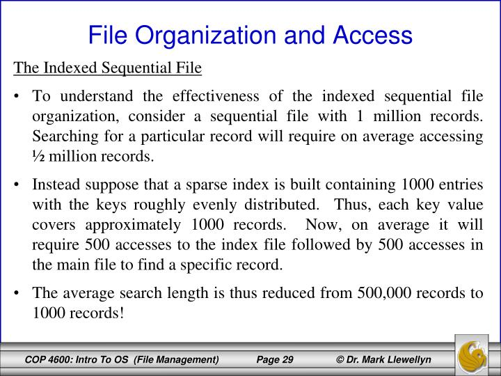 The Indexed Sequential File