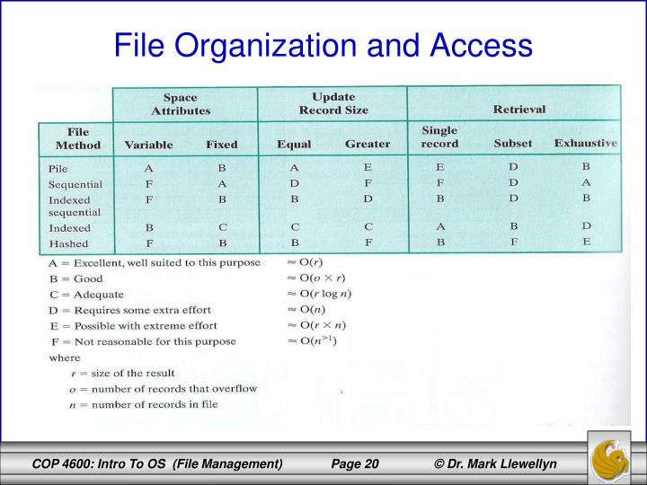 File Organization and Access