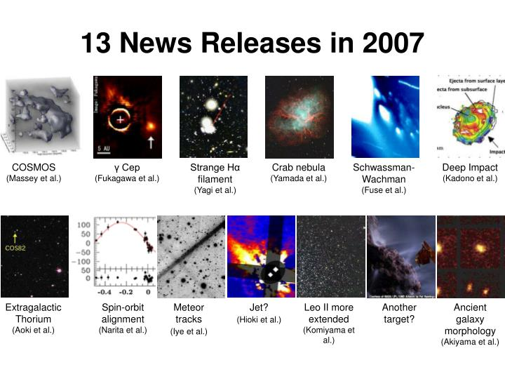 13 News Releases in 2007