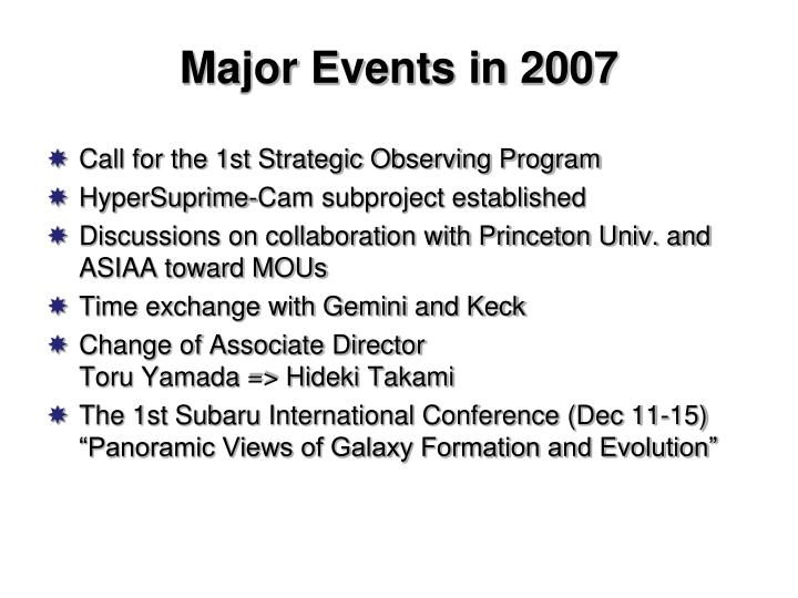 Major Events in 2007