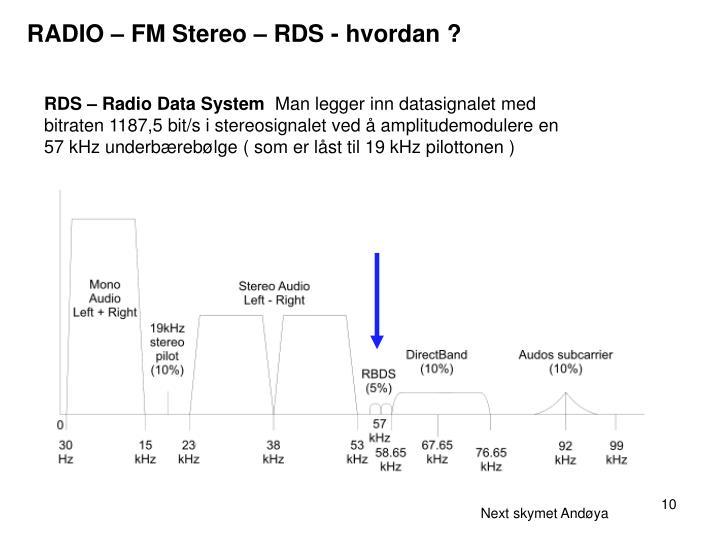 RADIO – FM Stereo – RDS - hvordan ?