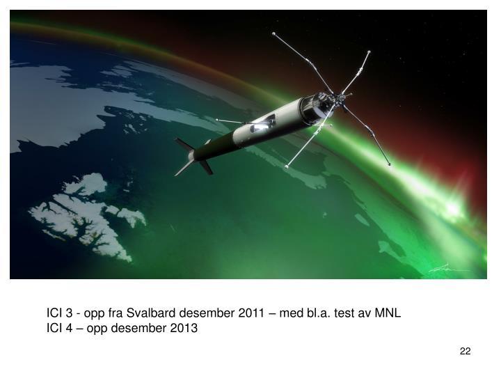 ICI 3 - opp fra Svalbard desember 2011 – med bl.a. test av MNL