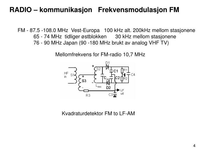 RADIO – kommunikasjon   Frekvensmodulasjon FM