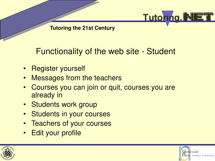 Functionality of the web site - Student