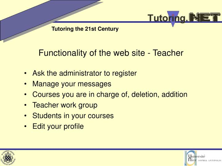 Functionality of the web site - Teacher
