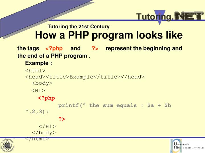 How a PHP program looks like