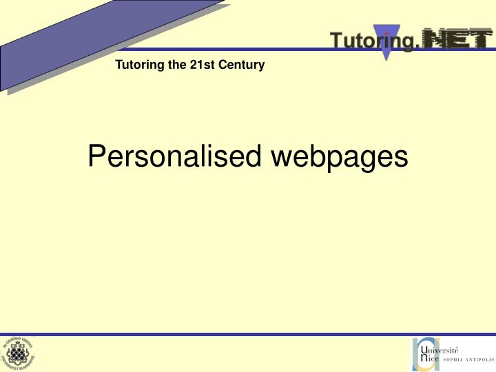Personalised webpages