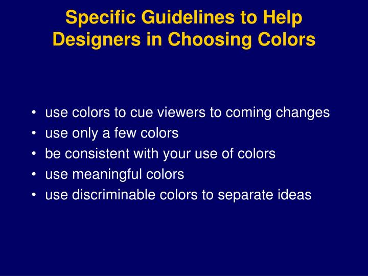 Specific Guidelines to Help Designers in Choosing Colors