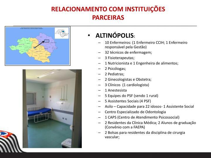 RELACIONAMENTO COM INSTITUIÇÕES PARCEIRAS