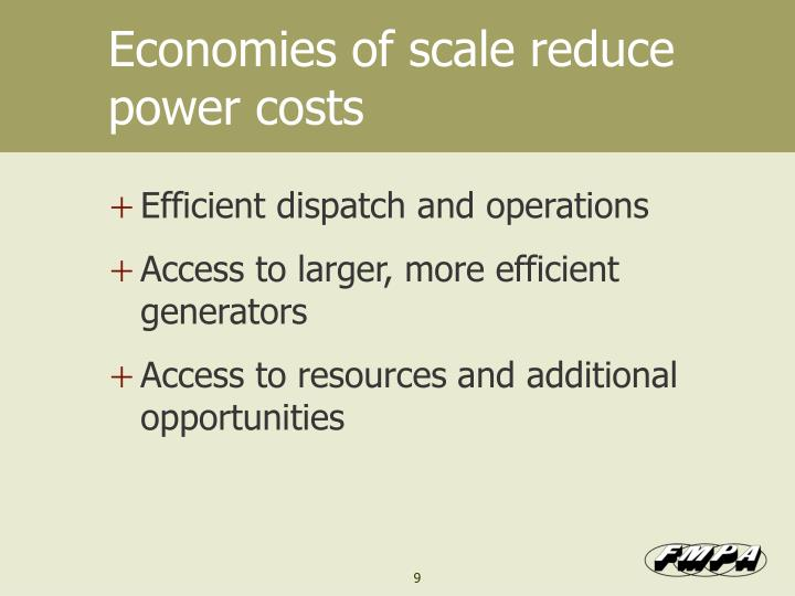 Economies of scale reduce power costs