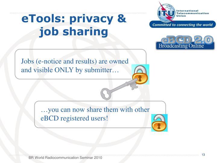 eTools: privacy &