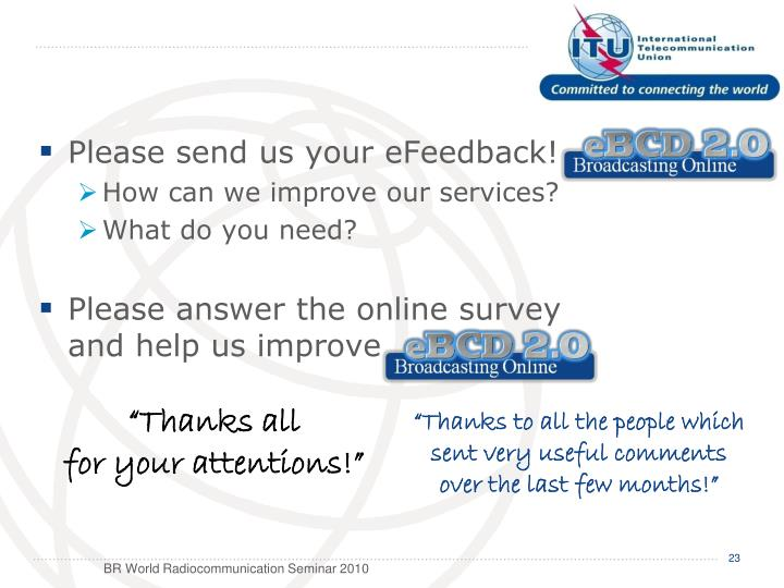 Please send us your eFeedback!
