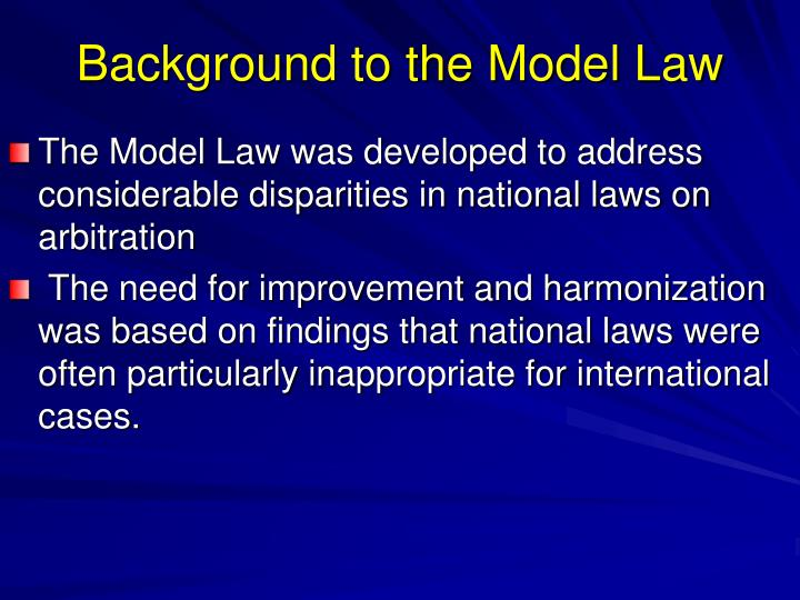 Background to the Model Law