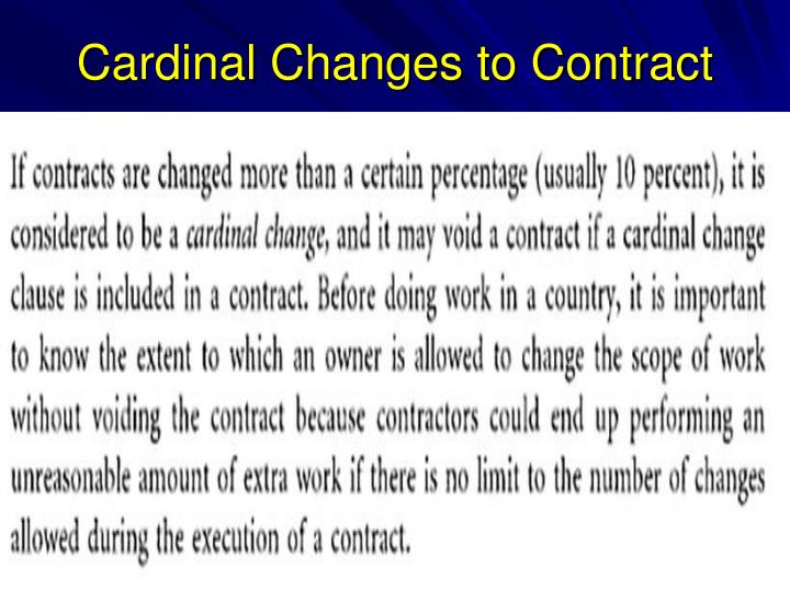 Cardinal Changes to Contract