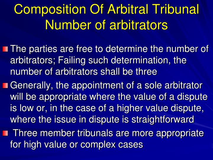 Composition Of Arbitral Tribunal