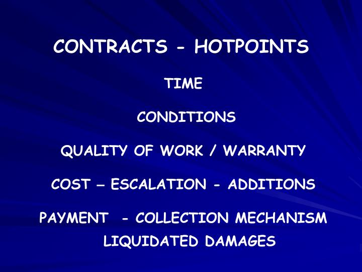 CONTRACTS - HOTPOINTS
