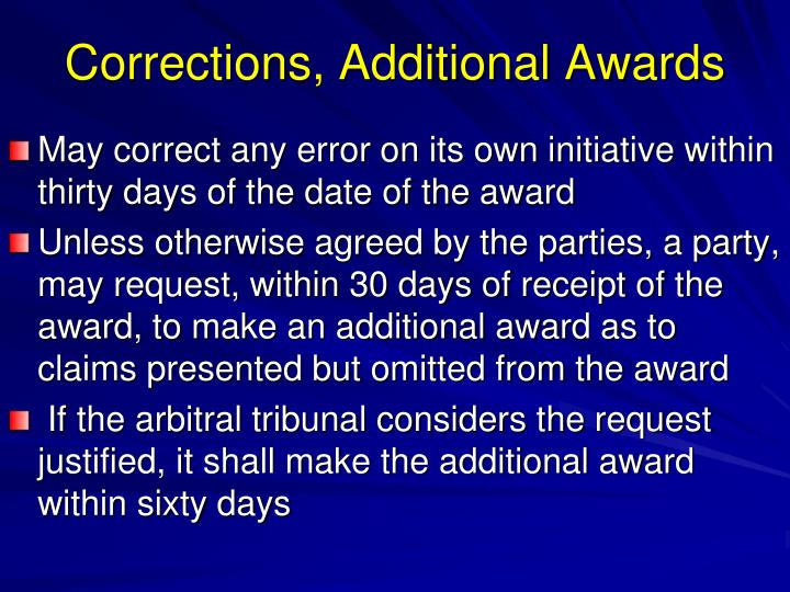 Corrections, Additional Awards