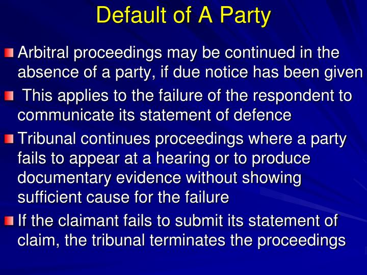 Default of A Party