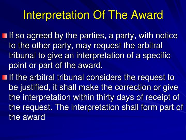 Interpretation Of The Award