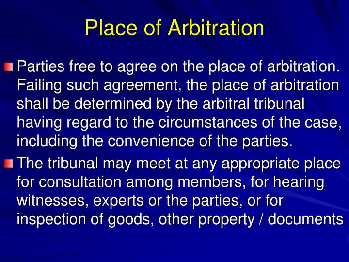 Place of Arbitration