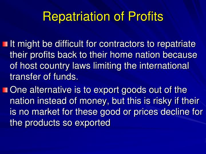 Repatriation of Profits