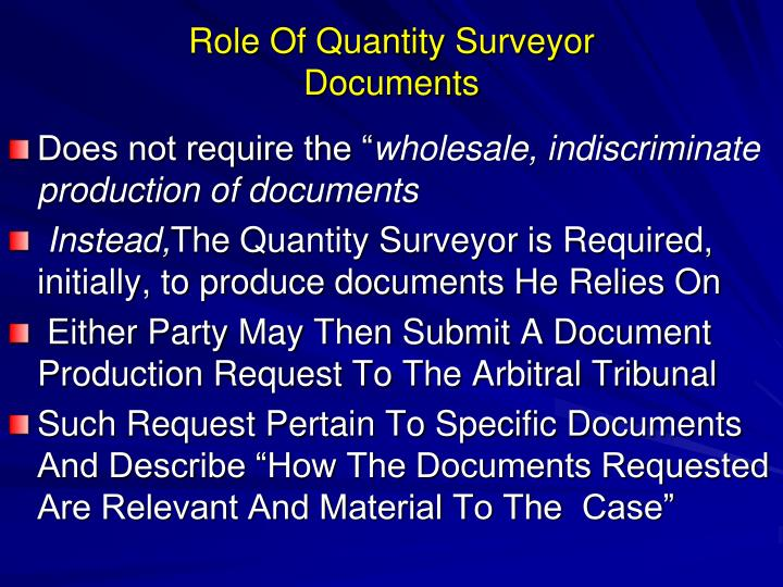 Role Of Quantity Surveyor