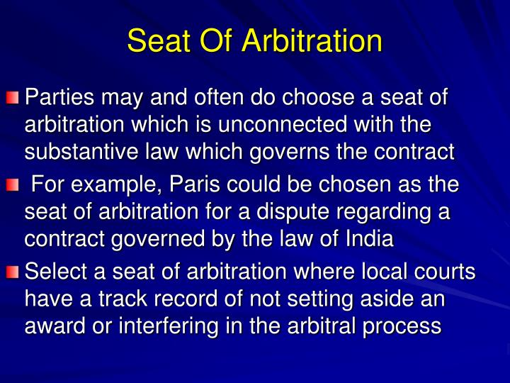 Seat Of Arbitration
