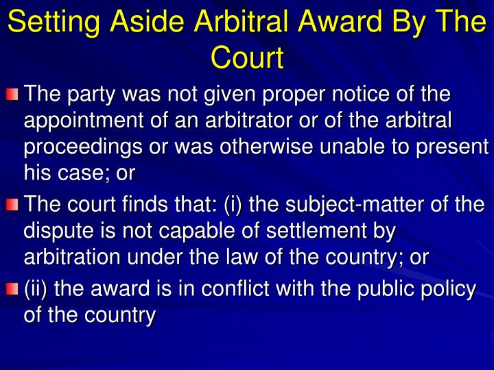 Setting Aside Arbitral Award By The Court