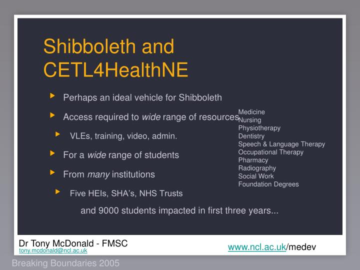 Shibboleth and CETL4HealthNE